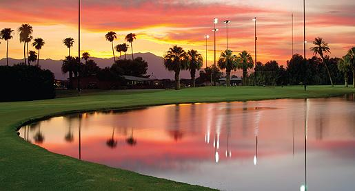 Sunset view of The Lights at Indio Golf Course